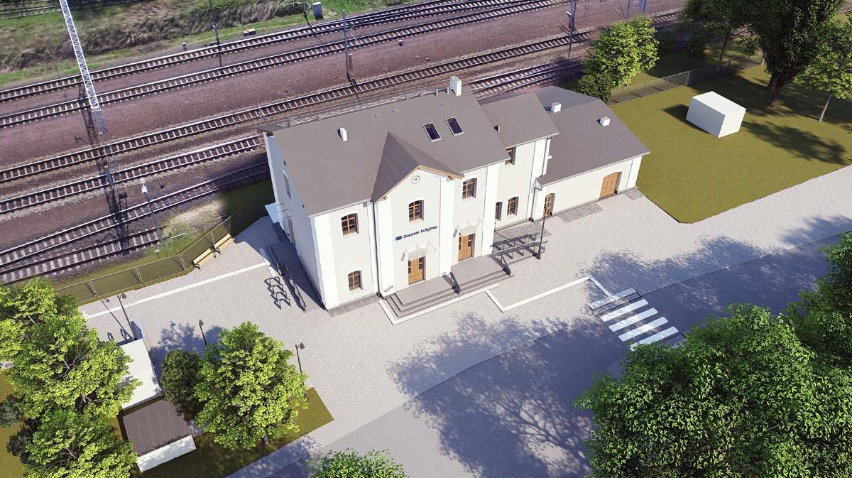 Dworzec Palędzie - wizualizacja z lotu ptaka